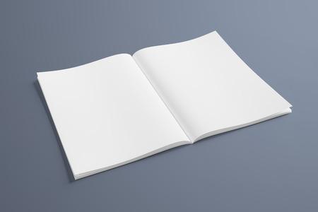 Geïsoleerd wit open tijdschriftmodel op grijze achtergrond 3D-rendering Stockfoto