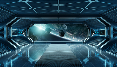 Dark blue spaceship futuristic interior with window view on planet Earth 3d rendering elements of this image furnished by NASA Stock Photo