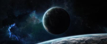 Système de planète éloigné dans l'espace avec des exoplanètes pendant le rendu 3D du lever du soleil