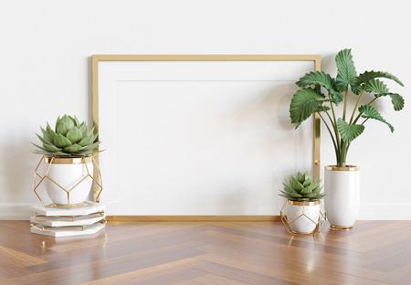 Horizontaal houten frame leunend in helder wit interieur met planten en decoraties mockup 3D-rendering Stockfoto