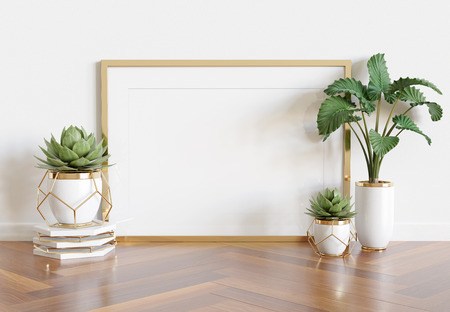 Horizontal wooden frame leaning in bright white interior with plants and decorations mockup 3D rendering
