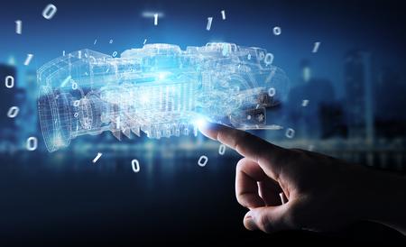 Empresario sobre fondo borroso mediante proyección digital 3D holográfica de estructura metálica de un motor