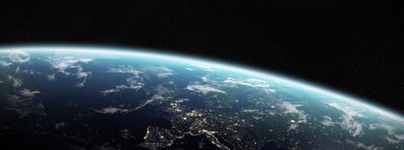 Vista del planeta Tierra azul en el espacio con su atmósfera Europa continente 3D rendering
