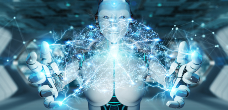 White woman humanoid on blurred background creating artificial intelligence 3D rendering Stock Photo