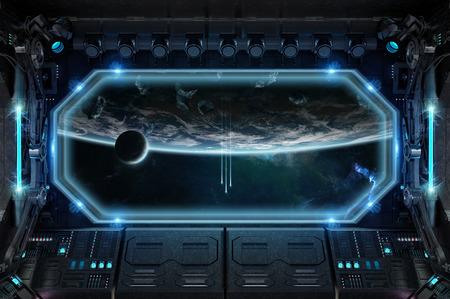 Intérieur de vaisseau spatial sombre avec une grande fenêtre sur le rendu 3D
