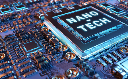 Close-up view on a colorful nanotechnology electronic system 3D rendering 免版税图像