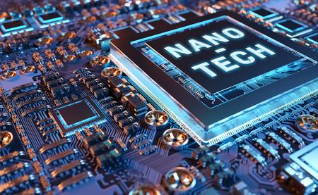 Vue rapprochée sur un rendu 3D d'un système électronique de nanotechnologie coloré