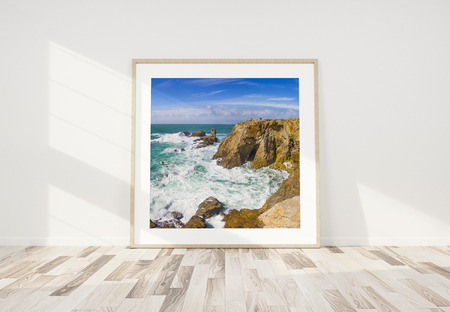 Squared wooden frame leaning in bright white interior with wooden floor mockup 3D rendering Stok Fotoğraf
