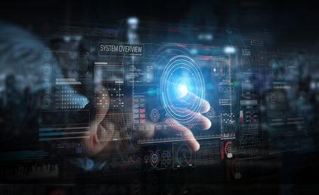 Empresario sobre fondo oscuro mediante interfaz tecnológica digital con representación 3D de datos Foto de archivo