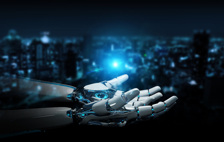 Intelligent robot machine opening hands on dark background 3D rendering