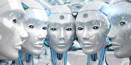 Group of female robots heads creating digital network connection 3d rendering