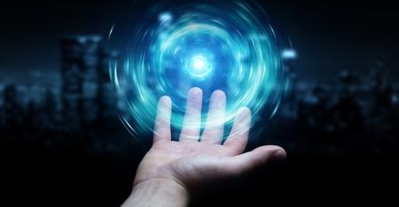 Businessman on dark background creating new futuristic energy power source 3D rendering Stok Fotoğraf