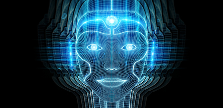Robotic woman cyborg face representing artificial intelligence concept 3D rendering Stock Photo