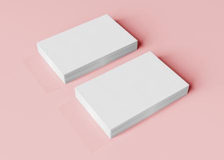 Modello di biglietto da visita isolato su sfondo rosa 3d rendering
