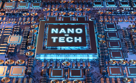 Close-up view on a colorful nanotechnology electronic system 3D rendering 写真素材