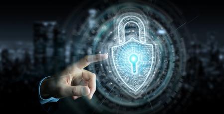 Businessman on dark background using digital padlock security interface to protect datas 3D rendering