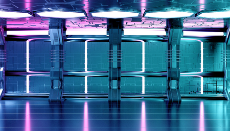 Dark blue pink spaceship futuristic interior with tech wall panel elements 3d rendering