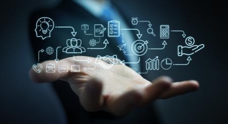 Businessman on blurred background using thin line icon project plan presentation Stok Fotoğraf
