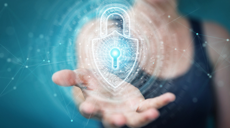 Woman on blurred background using digital padlock security interface to protect datas 3D rendering