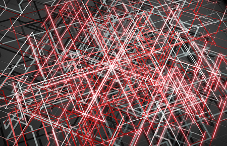 Futuristic red connection background with lines and roads map printed on metal texture