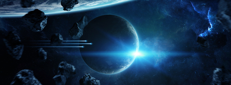 Distant planet system in space with exoplanets during sunrise 3D rendering Banco de Imagens