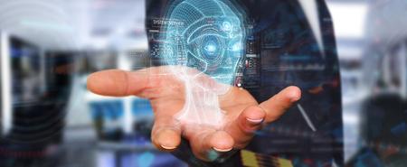 Uomo d'affari su sfondo sfocato utilizzando il rendering 3D dell'interfaccia della testa di intelligenza artificiale digitale