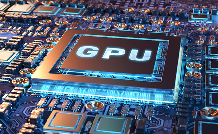 Close-up view of a modern GPU card with circuit and colorful lights and details 3D rendering