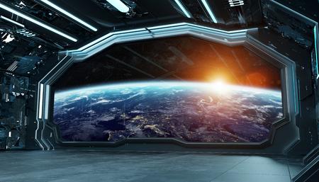 Dark blue spaceship futuristic interior with window view on planet Earth 3d rendering Reklamní fotografie