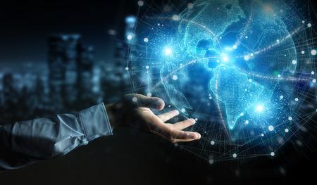 Businessman hand in dark using America USA map globe network hologram 3D rendering Imagens