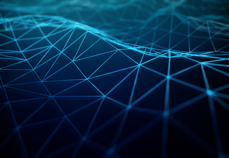 Abstract digital network connection on blue dark background 3D rendering