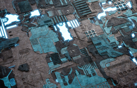 Futuristic tech panel texture background with lots of details Stockfoto