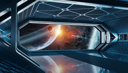 Dark blue spaceship futuristic interior with window view on space and planets 3d rendering 写真素材