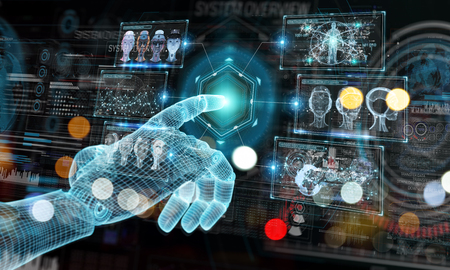 Wireframed blue robot hand touching digital graph interface on dark background 3D rendering Imagens