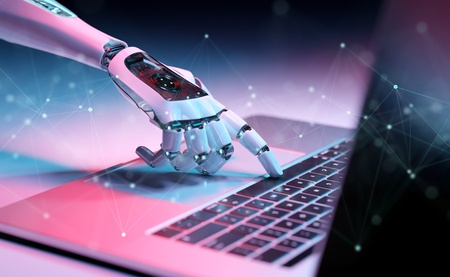 Robotic cyborg hand pressing a keyboard on a laptop 3D rendering Stockfoto