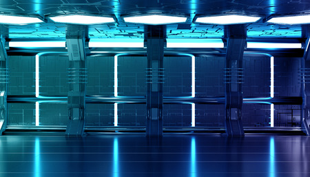 Dark blue spaceship futuristic interior with tech wall panel elements 3d rendering Stockfoto - 123121258