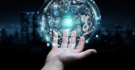 Businessman on blurred background using holograms datas digital sphere 3D rendering 스톡 콘텐츠