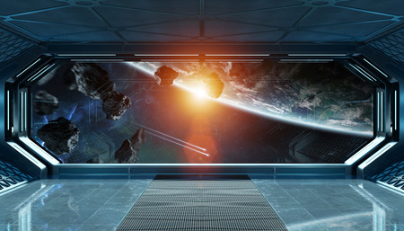 Dark blue spaceship futuristic interior with window view on planet Earth 3d rendering Stockfoto