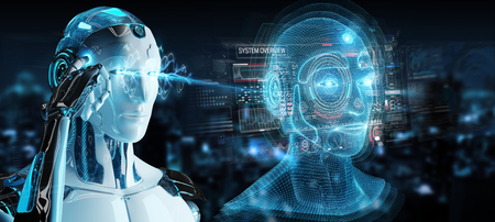White robot on blurred background using digital artificial intelligence head interface 3D rendering
