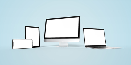 Modern devices with smartphone laptop computer and tablet aligned and isolated on white background mockup 3D rendering