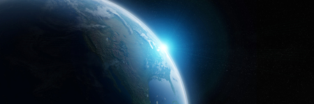 View of blue planet Earth in space with her atmosphere America continent 3D rendering