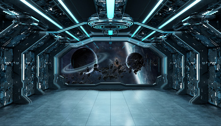 Dark blue spaceship futuristic interior with window view on space and planets 3d rendering Stockfoto