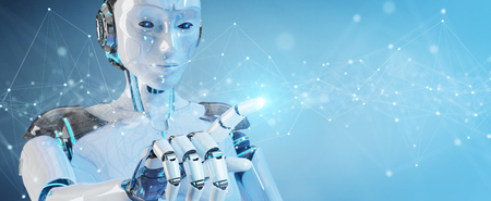 White robot on blurred background using floating digital network connections with dots and lines 3D rendering