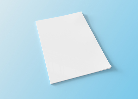 Magazine soft cover mockup isolated on blue background 3d rendering