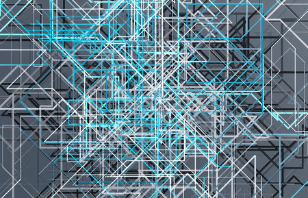 Futuristic blue connection background with lines and roads map printed on metal texture
