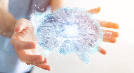Businessman on blurred background creating artificial intelligence in a digital brain 3D rendering Stockfoto