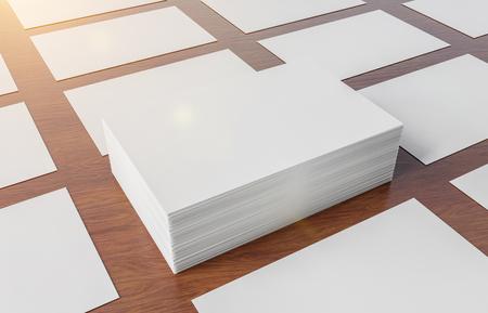 White business card pile on wooden desk mockup 3d rendering Stockfoto