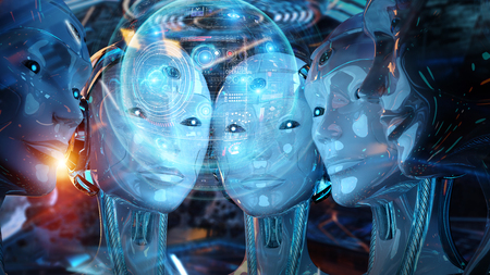 Group of female robots heads using digital hologram screens interface 3d rendering