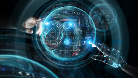 Robot hand and human hand touching digital sphere graph interface on dark background 3D rendering Stockfoto