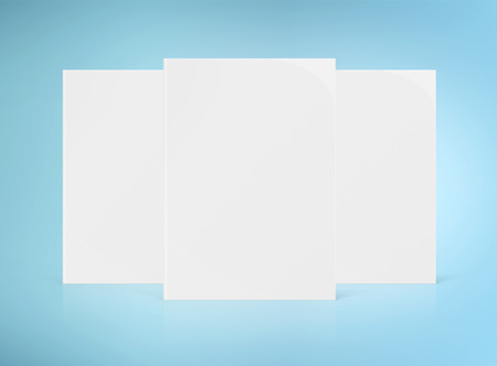 Three blank A4 book hardcover mockup isolated on white background 3D rendering Stockfoto