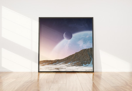 Squared black frame leaning in bright white interior with wooden floor mockup 3D rendering Stockfoto